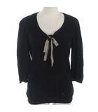 ニット プルオーバー セーター 七分袖 リボン ノバチェック ブラック 黒 38 ●IBS94