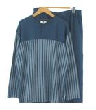 ジバンシィ GIVENCHY ルームウェア パジャマ 上下 セットアップ ハーフボタン シャツ 長袖 ロング パンツ コットン 総柄 ブルー 青 L IBO9