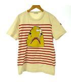 モンクレール MONCLER 17SS 80204 Tシャツ カットソー クルーネック ボーダー シャーク プリント ロゴ ベージュ M ECR6