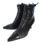 シャネル CHANEL ショートブーツ ココマーク サイドジップ ポインテッドトゥ エナメル レザー つま先切替 ブラック 黒 36 23.0 靴 シューズ ECR8