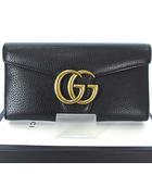 グッチ GUCCI 400586 GG マーモント 長財布 二つ折り ロング フラップ ウォレット レザー ブラック 黒 ゴールド 金