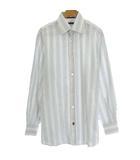 美品 国内正規品 ストライプ シャツ 長袖 コットン 37 ホワイト 白 M位 トップス IBO15