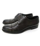 ヒューゴボス HUGO BOSS レザー シューズ 革靴 ストレートチップ メダリオン ビジネス 8 1/2 26.5cm位 茶 ダークブラウン 0421 IBS14