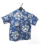 レインスプーナー reyn spooner キッズ アロハシャツ 半袖 花柄 ボタンダウン ハーフボタン M 青 ブルー 0423