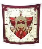 エルメス HERMES カレ90 VUE DU CARROSSE クイーンの戴冠式 シルク スカーフ 赤 レッド ボルドー×ベージュ系 0520