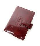 カルティエ Cartier ハッピーバースデーライン 手帳カバー 5連リング エナメル パテント 赤 レッド ボルドー 0516