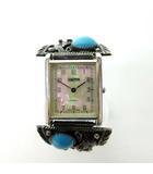 HARPO ジャンク 腕時計 インディアン ジュエリーウォッチ ナバホ シェル文字盤 スターリング ターコイズ シルバー 蛇腹ブレス 0908