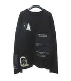 ラフシモンズ RAF SIMONS 2005-2006AW ポルターガイスト期 アーカイブ パッチワーク スウェット ニット セーター 48 黒 ブラック 0901