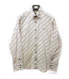 バーバリーブラックレーベル BURBERRY BLACK LABEL ボタンダウンシャツ BDシャツ マルチドット ロゴ 刺繍 コットン 長袖 白 赤 黒 茶 系 2 1110