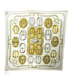 エルメス HERMES BOUCLERIE D'ATTELAGE アトラージュのバックル カレ70 スカーフ チーフ シルク 総柄 灰 グレー 系 1110