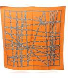 エルメス HERMES カレ90 シルク スカーフ BOLDUC ボルデュック リボン オレンジ グレー 灰 0709 KKK1
