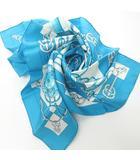 エルメス HERMES カレ90 シルク スカーフ cliquetis 剣柄 青 ブルー 水色 0709 KKK1