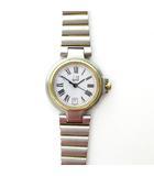 ダンヒル dunhill エリート ローマ数字 コンビ 白文字盤 クォーツ 腕時計 デイト カレンダー付 シルバー×ゴールドカラー 稼働品 KKK1