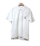 カネコイサオ KANEKO ISAO ポロシャツ 半袖 白 ホワイト K プリント コットン 胸ポケット NST X