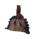 ヌキテパ NE QUITTEZ PAS! ハンドバッグ 巾着 フリンジ レオパード チェック 布 茶系 X