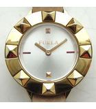 フルラ FURLA 4251109509-59330 腕時計 スタッズベゼル 替えベゼル付き 白文字盤 ゴールド ピンク 電池交換済み 0319 NVW