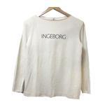 インゲボルグ INGEBORG Tシャツ 長袖 ベージュ カットソー ロンT ロゴ プリント ウール NST X 0427