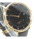 美品 アナログ 腕時計 クォーツ レザーベルト 文字盤黒 ベルト 黒 ブラック ゴールド  VJ12-KY40 RRR 0918