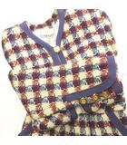 シャネル CHANEL ヴィンテージ セットアップ スカート スーツ ツイード トリコロール チェック柄 白 青 赤 約36 1020