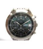 タケオキクチ TAKEO KIKUCHI クロノグラフ クォーツ 腕時計 TKV-2068 2000刻印 ステンレススチール 緑文字盤 シルバー 銀 190312NM4s