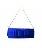 ストロベリーフィールズ STRAWBERRY-FIELDS リボン パーティーバッグ チェーン ショルダー サテン ブルー 青 バック 鞄 190316NM01B