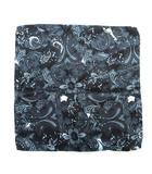 エンポリオアルマーニ EMPORIO ARMANI 総柄 ペイズリー柄 シルク100% チーフ ハンカチ スカーフ イタリア製 黒 ブラック 紺 ネイビー メンズ★6