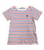 ミキハウス ダブルビー ダブルB MIKIHOUSE DOUBLE.B ボーダー くま 刺繍 Tシャツ カットソー 半袖 130cm 白×青×赤 キッズ ジュニア