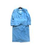 ジバンシィ GIVENCHY スーツ セットアップ ジャケット タイト スカート ラメ ウール レトロ オールド ビンテージ 大きいサイズ 46 水色 ブルー レディース