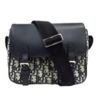 クリスチャンディオール Christian Dior ディオール オブリーク メッセンジャー バッグ 鞄 ショルダー クロスボディ トロッター ロゴ ジャガード 総柄 キャンバス レザー ネイビー ブルー 青 メンズ レディース