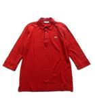 ラコステ LACOSTE ポロシャツ カットソー 鹿の子 ボーダー ロゴ 刺繍 日本製 七分丈 4 赤 メンズ♪4※