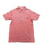 マンシングウェア MUNSINGWEAR 総柄 ポロシャツ カットソー ロゴ 刺繍 L 赤 白 レッド メンズ♪4※