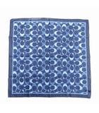 コーチ COACH シグネチャー ロゴ 総柄 スカーフ チーフ コットン シルク 青 ブルー レディース ◆4