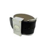バレンシアガ BALENCIAGA 1000本限定品 ベルトモチーフ ローラー式 腕時計 レザー ブレスレット スクエア クォーツ シルバー 黒 ブラック メンズ レディース