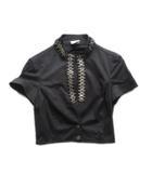 パオラフラーニ PAOLA FRANI ショート ジャケット ブルゾン メタル装飾 半袖 I40 黒 ブラック レディース