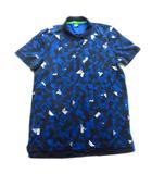 ヒューゴボス HUGO BOSS ポロシャツ カットソー スポーツ 幾何学模様 ロゴ 総柄 大きいサイズ XL ネイビー メンズ