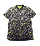 ヒューゴボス HUGO BOSS ポロシャツ カットソー スポーツ 幾何学模様 ロゴ 総柄 大きいサイズ XL グレー メンズ