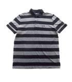 ヒューゴボス HUGO BOSS ポロシャツ カットソー スポーツ ボーダー 鹿の子 ロゴ 刺繍 L グレー メンズ
