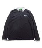 ヒューゴボス HUGO BOSS ロング ポロシャツ カットソー スポーツ ロゴ 刺繍 長袖 鹿の子 L 黒 ブラック メンズ