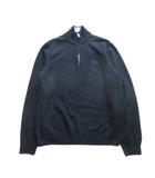 ニット トレーナー セーター ハーフジップ ロゴ 刺繍 メリノウール100% M 黒 ブラック メンズ●6※