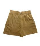 エルメス HERMES 70's 80's ショート パンツ スラックス キュロット スカート タック 持ち手レザー オールド ビンテージ 40 茶 ブラウン レディース※