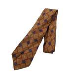 シャネル CHANEL ココマーク 総柄 ネクタイ シルク100% スーツ ビジネス オールド ビンテージ 茶 ブラウン×マルチ メンズ