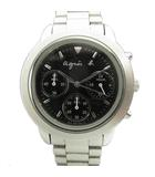 腕時計 クロノグラフ クォーツ ステンレス V654-6100 シルバー 黒 ブラック ボーイズ メンズ レディース♪7
