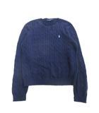 ケーブル ニット セーター コットン ポニー ロゴ 刺繍 大きいサイズ XL ネイビー メンズ●9※