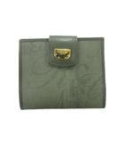 二つ折り 財布 ウォレット ロゴプレート 総柄 緑 グリーン レディース●9