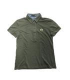 ポロシャツ カットソー 鹿の子 エンブレム 刺繍 M 緑 グリーン レディース♪9