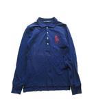 ビッグポニー ロング ポロシャツ カットソー 長袖 ロゴ 刺繍 鹿の子 M ネイビー レディース♪7