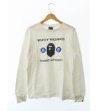 アベイシングエイプ A BATHING APE BUSY WORKS TRANSIT AUTHORITY L/S 長袖 Tシャツ M 白ホワイト ブランド古着ベクトル 中古190408 0006