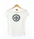 トリーバーチ TORY BURCH S/S ターコイズ ロゴ 半袖Tシャツ S 白ホワイト ブランド古着ベクトル 中古☆AA★●190520 0012