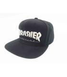 スラッシャー THRASHER ロゴ 刺繍 スナップバック キャップ 帽子 黒ブラック ブランド古着ベクトル 中古●▲ 190523 0003