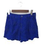 グレースコンチネンタル GRACE CONTINENTAL 美品 GRACE CONTINENTAL グレースコンチネンタル 総柄 刺繍 ショート パンツ 36 ブルー